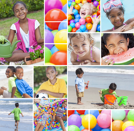 Montage of happy young multiracial children, girls and boys playing in swimming pool, at beach, cycling on bikes, gardening and in colourful ball pit photo