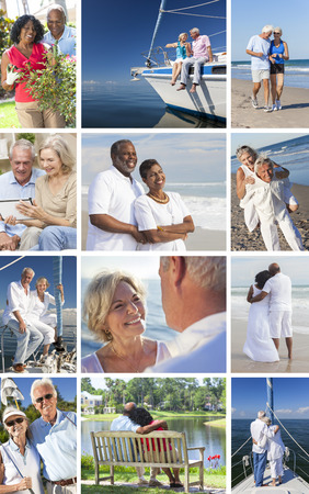 Montage of happy interracial old senior man woman couples enjoying active retirement lifestyle beach, gardening, playing golf, sailing, luxury yacht boat. Stock Photo