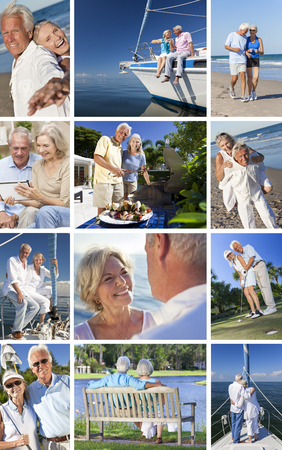 retirement homes: Montage of happy old senior man woman couples enjoying active retirement lifestyle on beach, gardening, playing golf & sailing on luxury yacht boat. Stock Photo