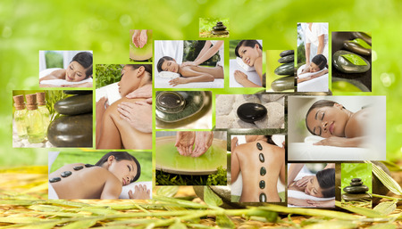 Montage of beautiful Asian & African American, interracial women, woman relaxing at a spa, enjoying massages and different hot stone treatments. photo