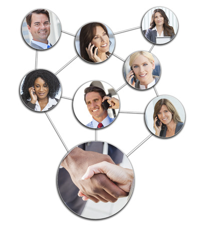 Team communication montage of interracial successful business people, men and women using mobile cell phones to social network photo