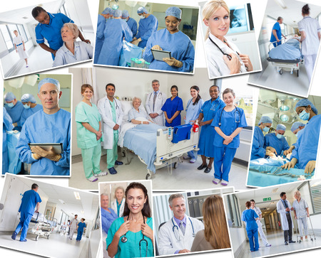 A photo montage of interracial medical people team, men & women, doctors & nurses in hospital caring for elderly patients, in surgery an operating theatre & using tablet computers