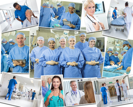 A photo montage of interracial business medical people team, men and women, doctors and nurses in hospital caring for elderly patients, performing surgery in an operating theatre and using tablet computers.