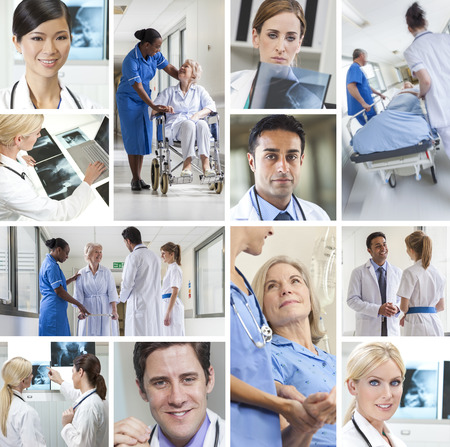 Montage of interracial medical people, men and women, doctors and nurses team in hospital caring for elderly senior old patients and analyzing x-rays