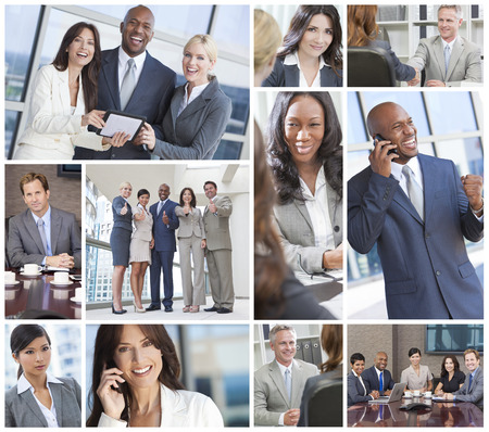 Montage of a successful team of interracial business men & women businessmen, businesswomen on cell phone, using laptop and tablet computers, in meetings making deals.