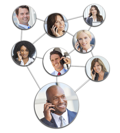 Team communication montage of interracial successful business people men and women using mobile cell phones to social network photo