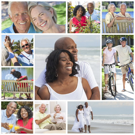 Montage of happy interracial old senior man woman couples enjoying an active retirement lifestyle walking on the beach, gardening, playing golf and cycling. photo