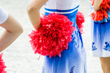 cheerleaders closeup in a symmetrical formation