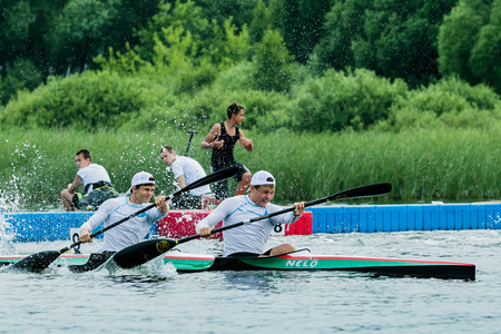 june 25: Chelyabisk, Russia - June 25, 2015: kayakers competing during the Championship in rowing, kayaking and Canoeing, Chelyabisk, Russia - June 25, 2015