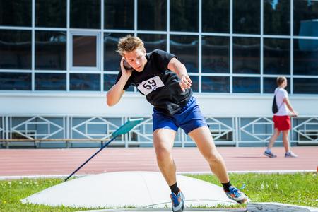 Chelyabinsk, Russia - June 16, 2015: Mens shot put during Championship of Chelyabinsk region in athletics
