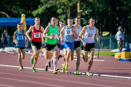 mid distance: Chelyabinsk, Russia - July 24, 2015: final of 1500 meters for men during National competitions in memory of G. I. Nicewhen athletics, Chelyabinsk, Russia - July 24, 2015 Editorial