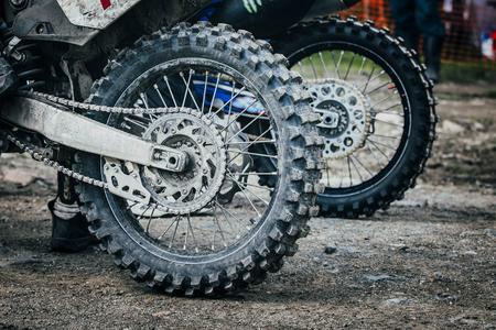 summer tire: view closeup to the wheel of  enduro bike