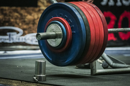 powerlifting: Chelyabinsk, Russia - July 17, 2015:  Barbell ready during National championship powerlifting, bench press and deadlift, Chelyabinsk, Russia - July 17, 2015 Editorial
