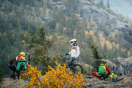 magnitogorsk: Magnitogorsk, Russia -  September 12, 2015: preparation racers mountain bikers to downhill during Urals Cup of downhill bike, Magnitogorsk, Russia -  September 12