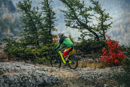 magnitogorsk: Magnitogorsk, Russia -  September 12, 2015: athlete in the discipline of downhill during Urals Cup of downhill bike, Magnitogorsk, Russia -  September 12 Editorial