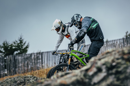 magnitogorsk: Magnitogorsk, Russia -  September 12, 2015:training run of downhill racers during Urals Cup of downhill bike, Magnitogorsk, Russia -  September 12