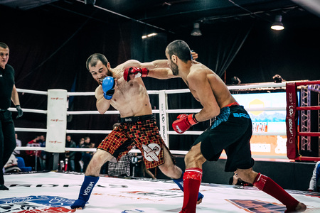mixed martial arts: Volgograd, Russia - October 24, 2015: mixed martial arts fighter deals a direct blow to hand on head of opponent during Championship of Russia on mixed martial arts Editorial
