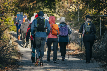Yalta, Rusland - 31 oktober 2015: De groep van atleet met stokken te lopen begonnen tijdens de Eerste Yalta berg marathon