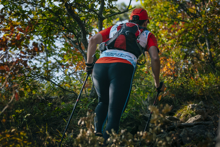 rival rivals rivalry season: female athlete runner with nordic walking poles in forest, climbs a mountain trail