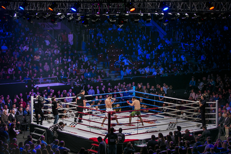 Chelyabinsk, Russia - December 5, 2015: General plan of sports arena during fight in ring, fighters and referee across ring fans during Cup of Russia MMA