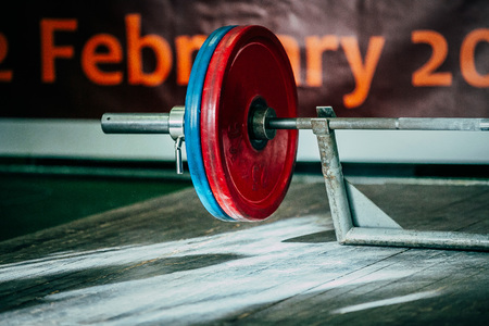 barbel: preparation barbel deadlift during competition of powerlifting