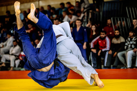 wrestling: fighter judo throw for IPPON in competition judo