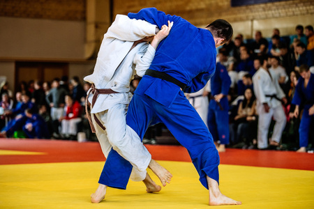 judo: battle of two fighters judo sports judo competitions