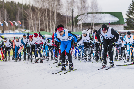 start to cross: Kyshtym, Russia -  March 26, 2016: Mass start of skiers athletes at marathon distance during Championship on cross country skiing