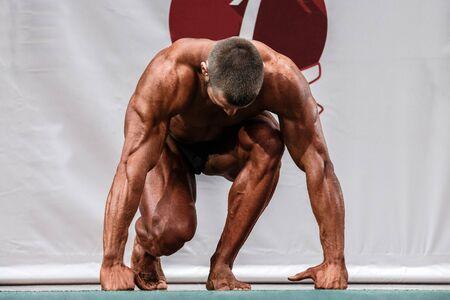 arbitrario: atleta profesional masculino para competir en culturismo. ejercicios arbitrarios