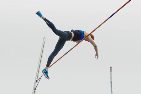 male athlete pole vault during athletics competitions