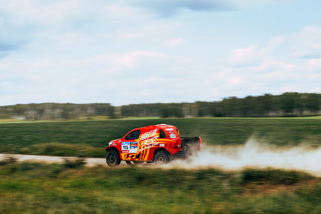rally car: Filimonovo, Russia - July 11, 2016: rally car Chinese team goes on road during Silk way rally