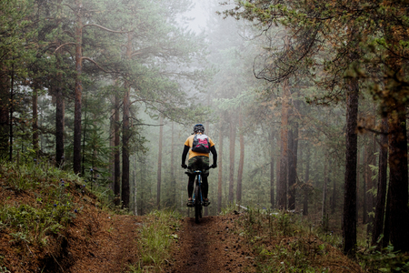 man mountainbiker rides on a sports  bicycle on a forest trail. in forest mist, mysterious kind