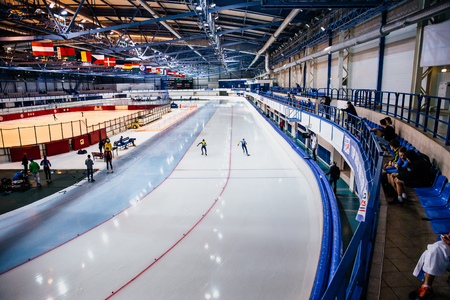 Chelyabinsk, Russia - August 25, 2016: General plan of ice arena during Summer Cup in speed skating Editorial