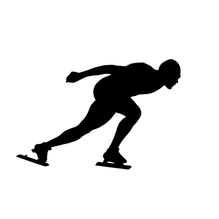 black silhouette man athlete speed skater Illustration