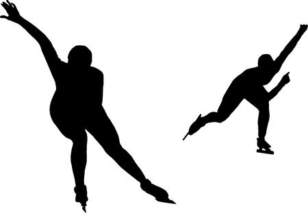 skaters: two women speed skaters black silhouette on white background Illustration