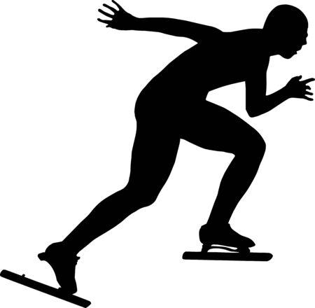 skaters: black silhouette women athletes speed skaters Illustration