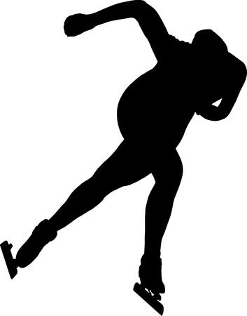 skaters: women speed skaters black silhouette on white background