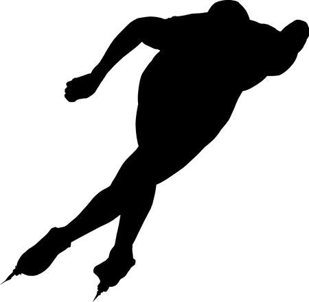 skaters: man speed skaters black silhouette on white background vector Illustration Illustration