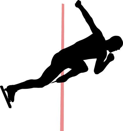 skaters: start man speed skaters vector Illustration