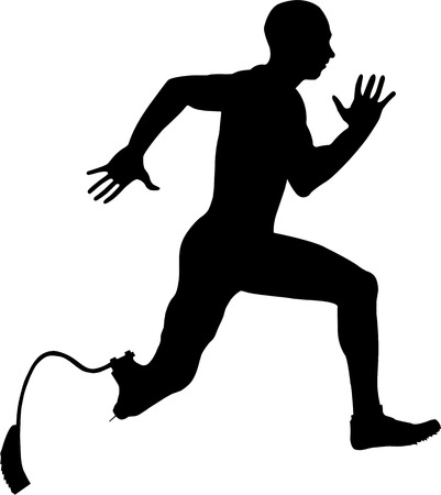 amputee: athlete disabled amputee running Illustrator vector
