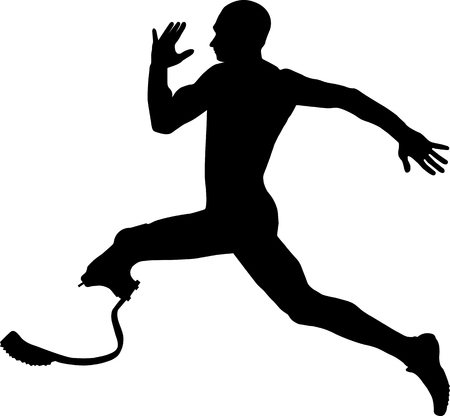 amputee: athlete disabled amputee explosive running Illustrator vector