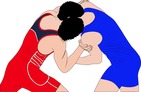 two men wrestlers in Greco-Roman wrestling at competitions. color silhouette vector illustration Illustration