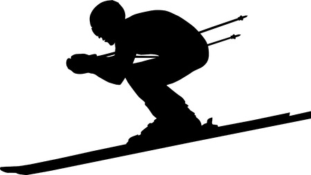 downhill man athlete skiing to competition in alpine skiing. black silhouette vector illustration