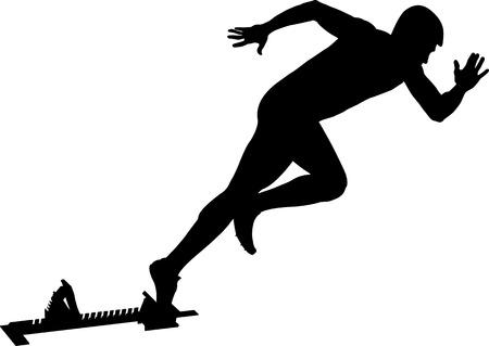 athlete runner start to sprint from starting blocks black silhouette