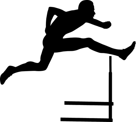 hurdles: sprinter runner men running hurdles black silhouette