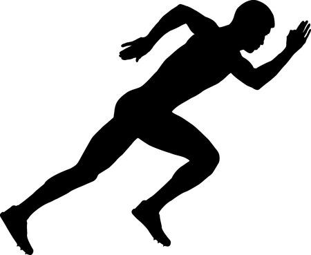 start of a sprinter runner men black silhouette Ilustracja