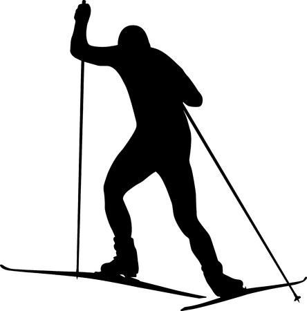 man athlete skier freestyle black silhouette Illustration