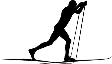 mężczyzna sportowiec narciarz w stylu klasycznym czarna sylwetka