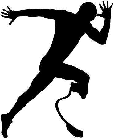 Explosive Start Athlet Läufer behinderte Handicap auf Carbon Prothese Standard-Bild - 69364173