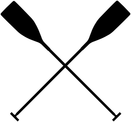 criss cross: real sports paddles for canoeing. black silhouette criss cross